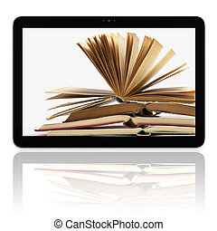 E-book E-reader Tablet Computer - Book and generic teblet ...