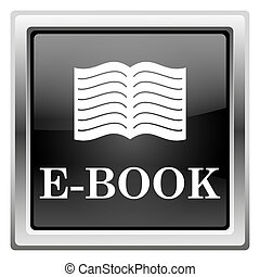 E-book icon - Metallic icon with white design on black...