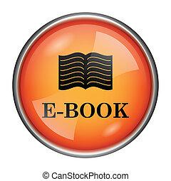 E-book icon - Round glossy icon with black design on orange...