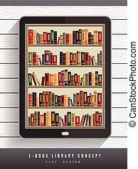 e-book library concept in flat design