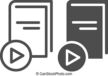 E-book line and glyph icon. Book with play button vector illustration isolated on white. Education outline style design, designed for web and app. Eps 10.