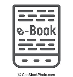 E book line icon, e learning and education, tablet sign vector graphics, a linear pattern on a white background, eps 10.