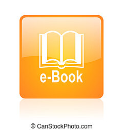 e-book orange square glossy web icon