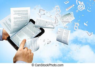 e book reader and books - the library in the e-book concept...