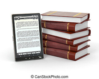 E-book reader and stack of books. 3d
