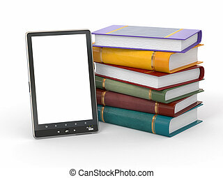 E-book reader. Books and tablet pc