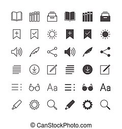 E-book reader icons, included normal and enable state.