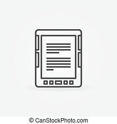 E-Book reader linear icon