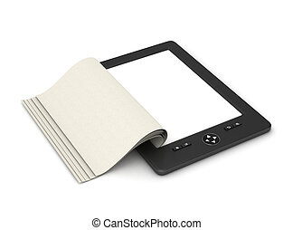 e-book reader tablet with pages isolated