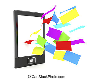 E-book reader with colorful papers - E-book reader with...