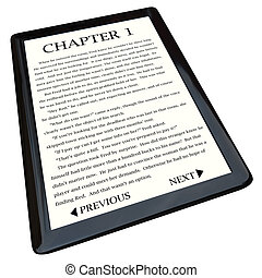 A modern e-reader device displaying the first page of a novel