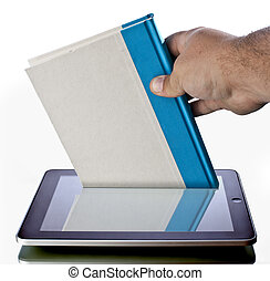 e-book reading - a hand pulling a book out of a touchscreen ...
