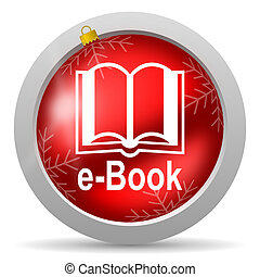 e-book red glossy christmas icon on white background
