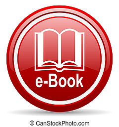 e-book red glossy icon on white background