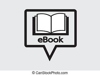 e-book, sæt, e-reader, iconerne, læser
