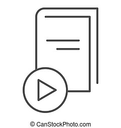 E-book thin line icon. Book with play button vector illustration isolated on white. Education outline style design, designed for web and app. Eps 10.