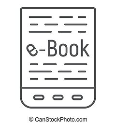 E book thin line icon, e learning and education, tablet sign vector graphics, a linear pattern on a white background, eps 10.