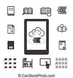 E-book with cloud computing icons