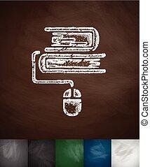 e-books icon. Hand drawn vector illustration. Chalkboard...
