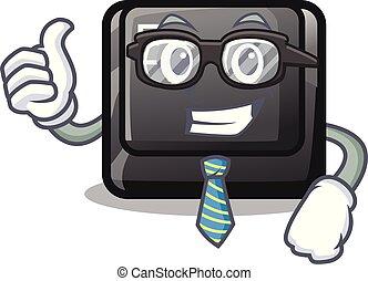 e, bouton, attaché, clavier, homme affaires, dessin animé
