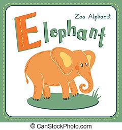 e, -, brev, elefant