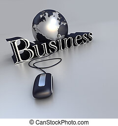 3D-rendering of a world globe a computer mouse and the word business in blue and silver shades