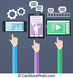 E-Business concept, computers, smartphone with graphs and...