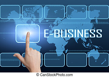 E-Business concept with interface and world map on blue background