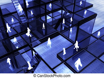 Ebusiness concept illustrated with people doing activity in futuristic virtual world.