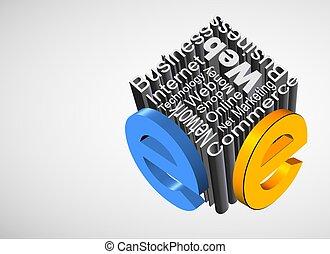 An illustration of 3d metallic e-business concept