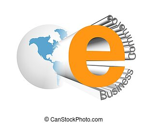 E-business icon - An illustration of 3d e-business and...