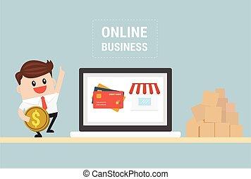 e-business., online, projektować, business., płaski