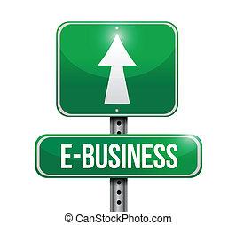 e-business, ontwerp, straat, illustratie, meldingsbord