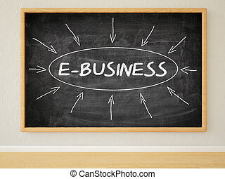 E-Business - 3d render illustration of text on black...