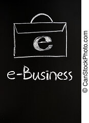 E-business - Concept of E-business with a folder drawn with...