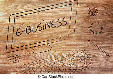 the Text E-business on a computer screen, on a desk with keyboard and coffee