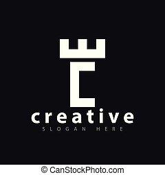 E C Letter Castle Logo vector Template
