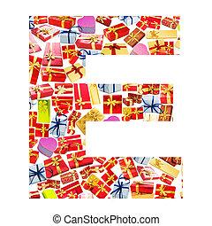 e, carta, -, alfabeto, hecho, de, giftboxes