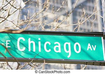e., chicago, ave, znak