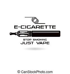 E-cigarette emblem. Black print on white background