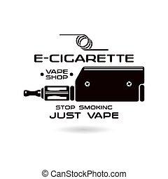 E-cigarette emblem. Vape shop. Black print on white...