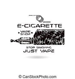 E-cigarette emblem with shabby texture. Vape shop. Black ...