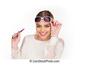 e-cigarette, mujer felíz, fumar