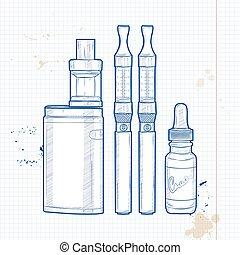 e-cigarette, vector, conjunto