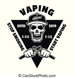 e-cigarettes, emblema, presa a terra, cranio, mani