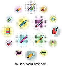 E-cigarettes icons set in comics style isolated on white