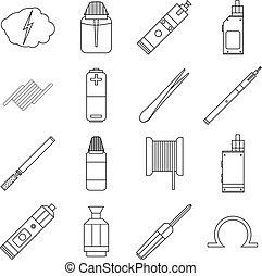 E-cigarettes tools icons set, outline style