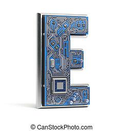 e, circuito, alfabeto, isolato, ciao-tecnologia, white., lettera, digitale, style., asse