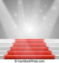 e, clair, vecteur, luxe, photorealistic, escalier, moquette rouge