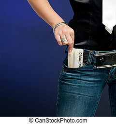 Woman hand take credit card out from pocket